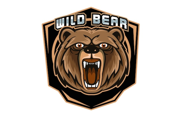 暗い背景で隔離のスポーツやeスポーツのロゴの怒っているクマのマスコット Premiumベクター