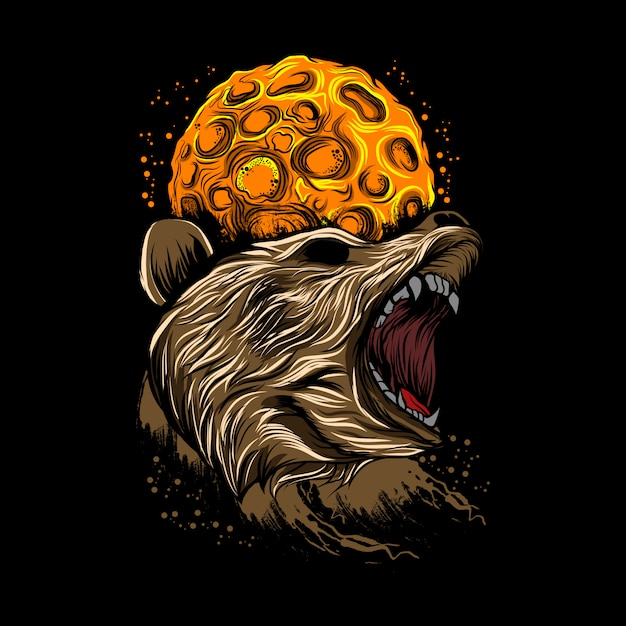 Angry bear moon background vector illustration Premium Vector