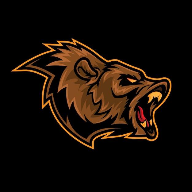 Angry bear roar logo mascot Premium Vector