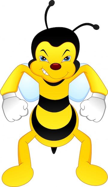 Angry bee cartoon Premium Vector