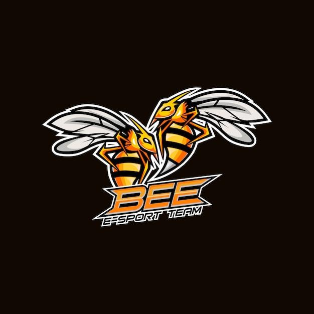 화난 꿀벌 Esport 마스코트 로고 디자인 프리미엄 벡터