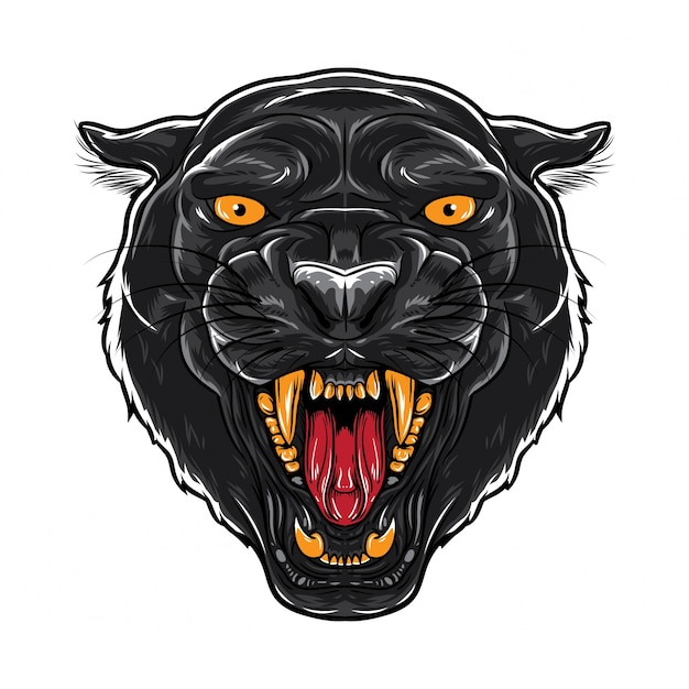 Angry black panther face Vector | Premium Download