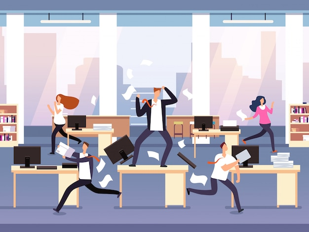 Angry boss. chaos in office with employees in panic. businessman in stress and deadline concept Premium Vector