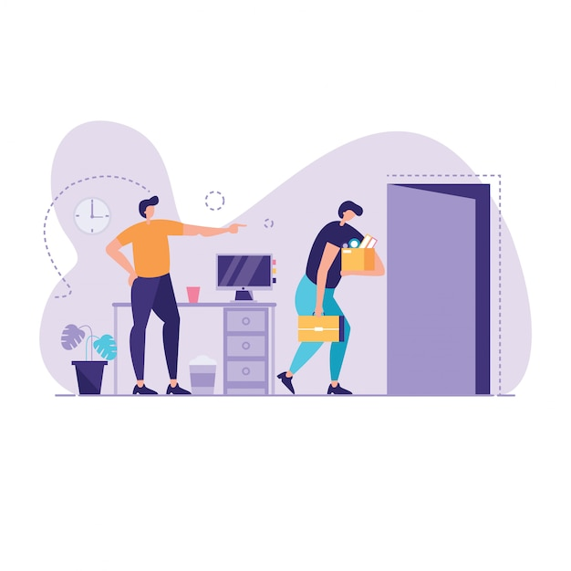 Angry boss dismisses empoyed illustration Premium Vector