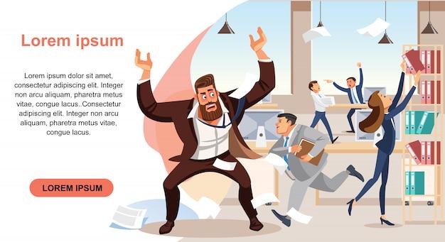 Angry boss screams in chaos at his subordinates Premium Vector