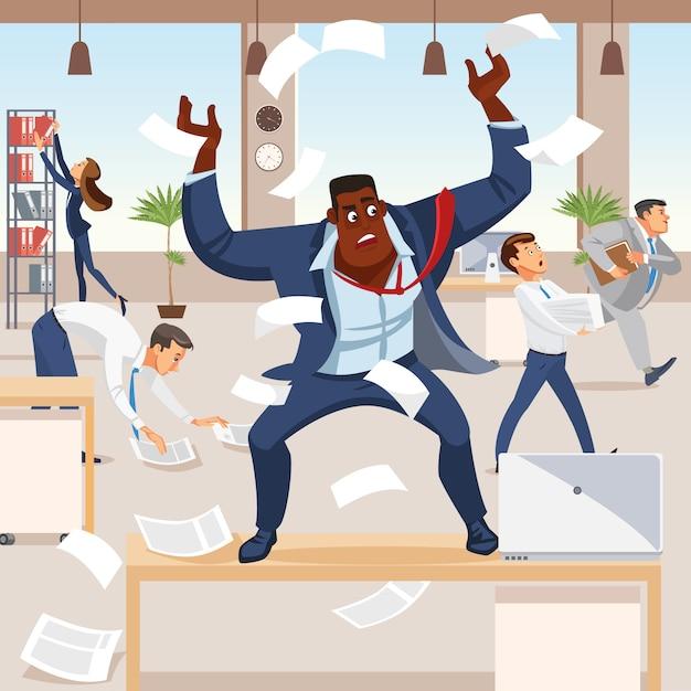 Злой босс кричит в хаосе на своих подчиненных Premium векторы