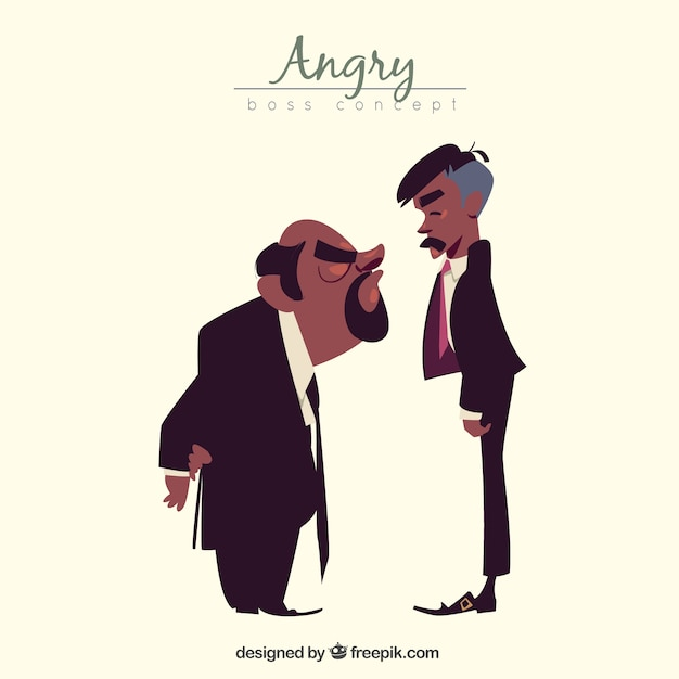Angry boss with worker