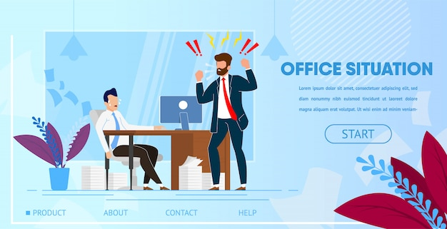 Angry boss yelling at employee office worker. Premium Vector