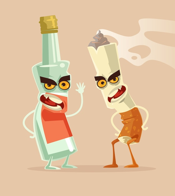 Angry bottle glass of vodka and cigarette characters best friends. bad habits. drink and smoking ad