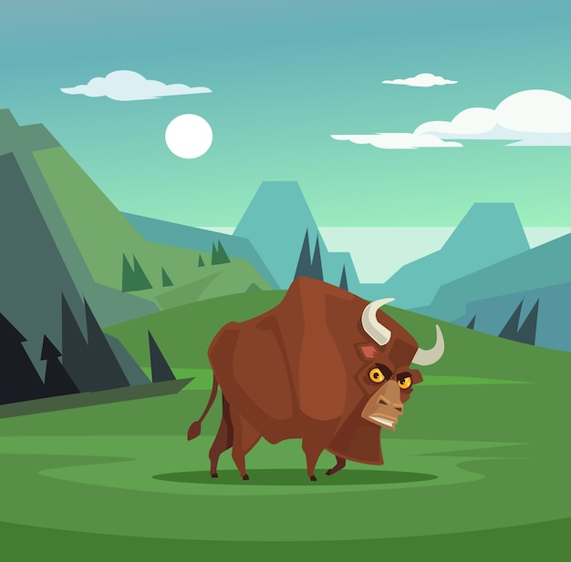 フィールドで放牧している怒っている雄牛のキャラクター、フラットな漫画イラスト Premiumベクター