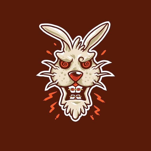 Angry bunny mascot logo illustration Premium Vector