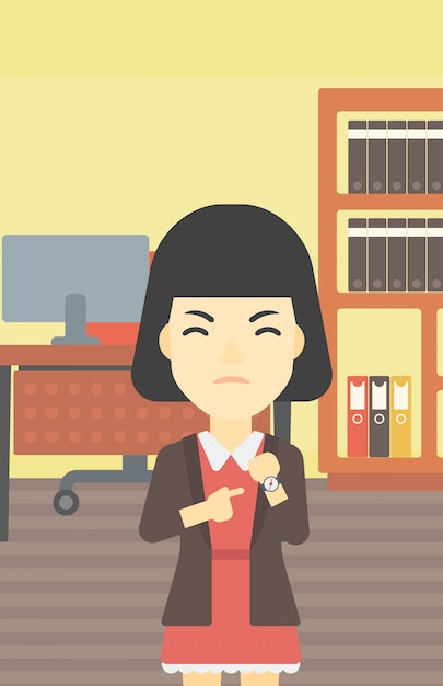 Angry business woman pointing at wrist watch. Premium Vector