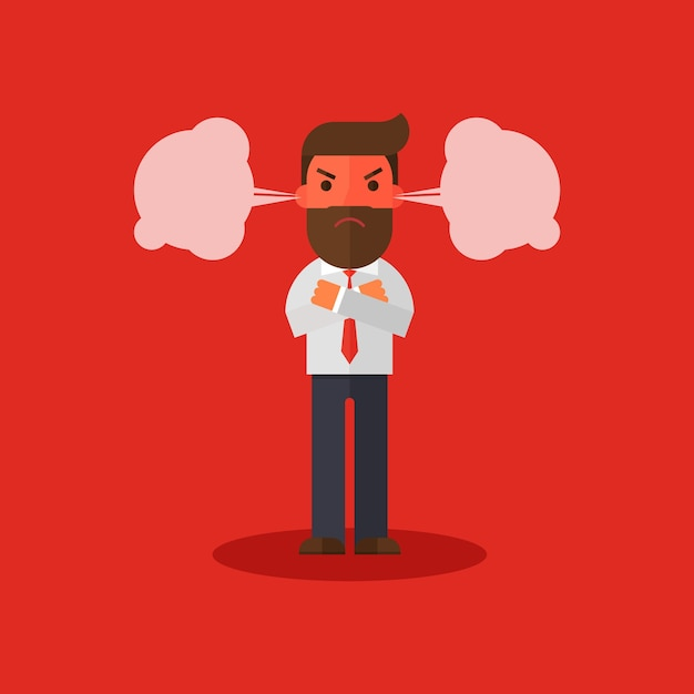 Angry businessman flushed Premium Vector