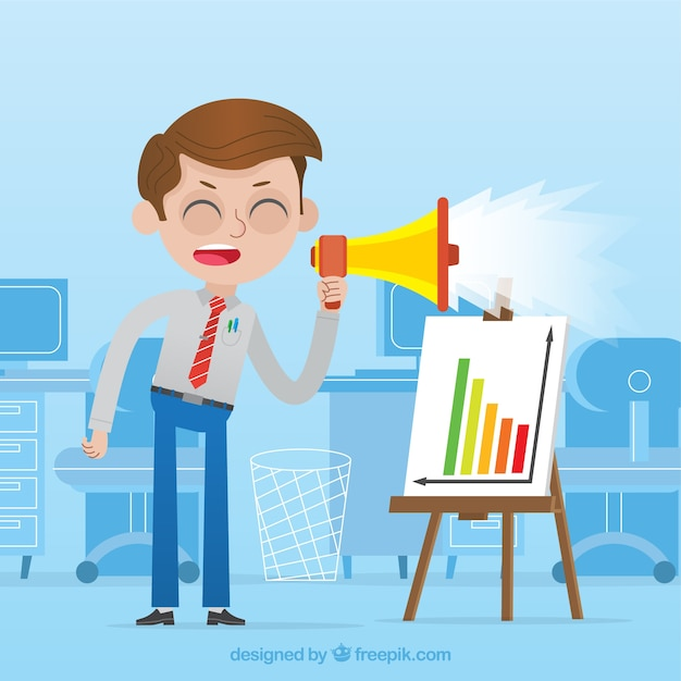 Angry businessman with a megaphone