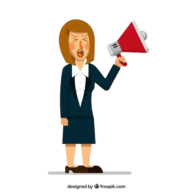 Angry businesswoman with megaphone Free Vector