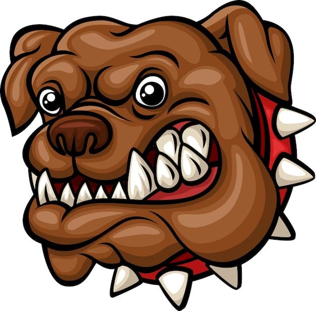 Angry cartoon bulldog head mascot Premium Vector