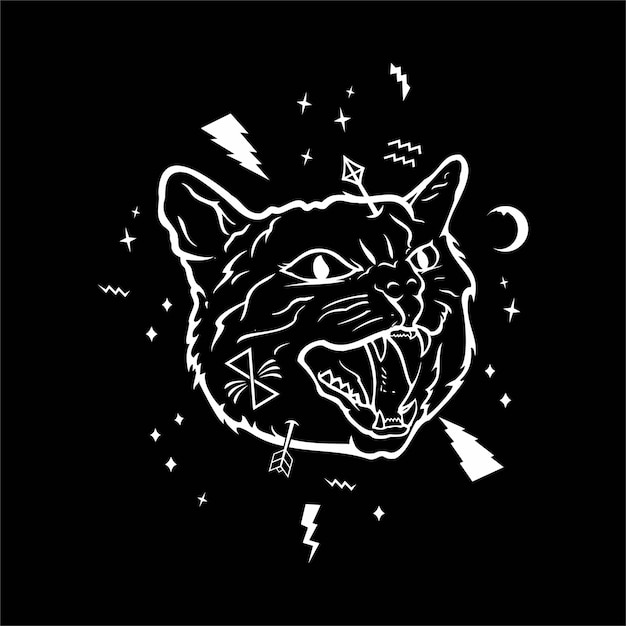 Angry cat illustration Premium Vector