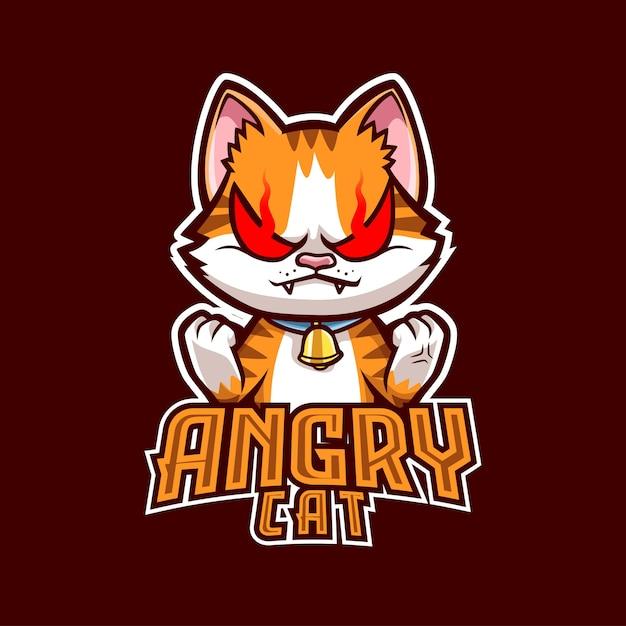 Eスポーツとスポーツのための怒っている猫のマスコットのロゴ Premiumベクター