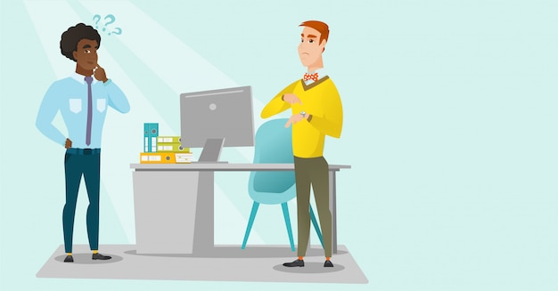 Angry caucasian employer pointing at wrist watch. Premium Vector