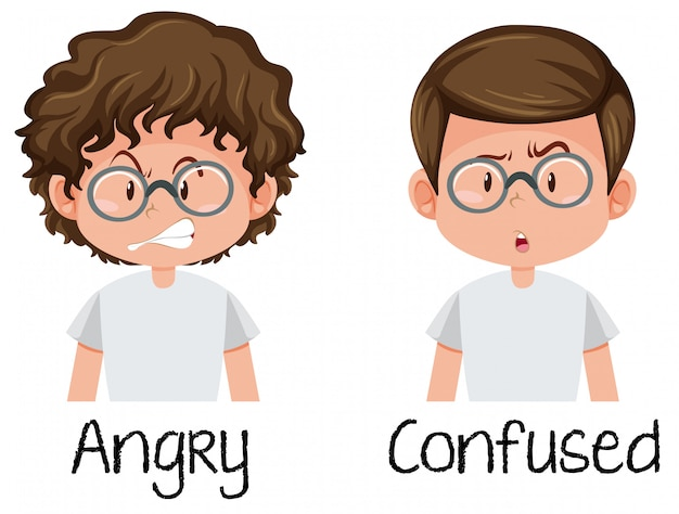 Angry and confused boy Free Vector