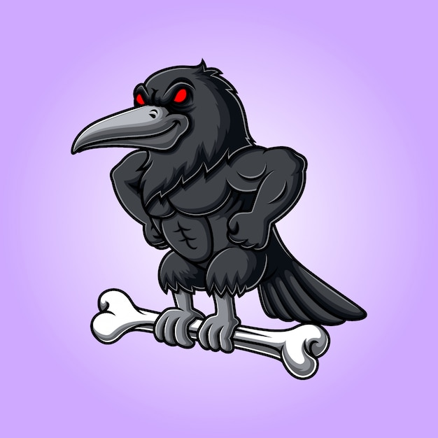 Angry crow carrying bone Premium Vector