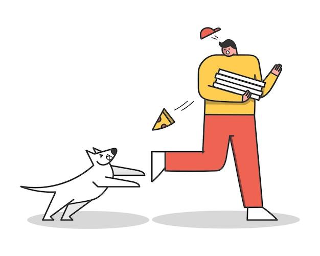 Злая собака атакует доставщика пиццы. агрессивная собака лает на парня. герои мультфильмов изолированы Premium векторы