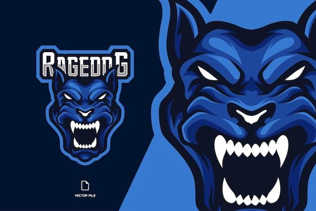 ゲームスポーツチームの怒っている犬のマスコットeスポーツロゴ Premiumベクター