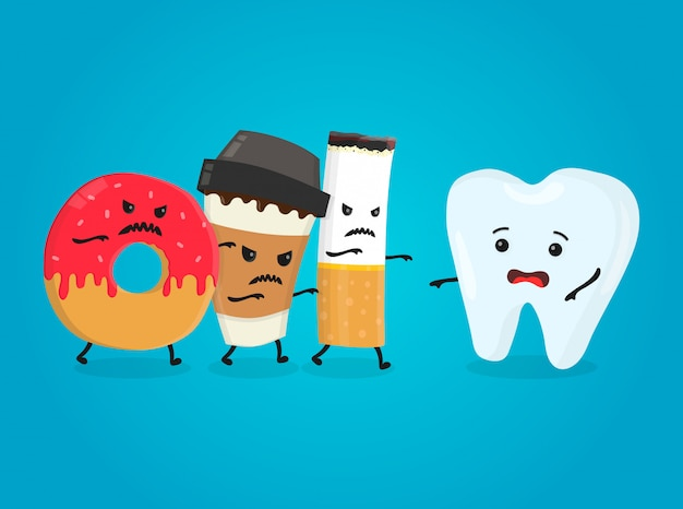 Angry donut, coffee paper cup and cigarette kill healthy tooth. nightmare health white teeth.  flat cartoon character isolated illustration Premium Vector