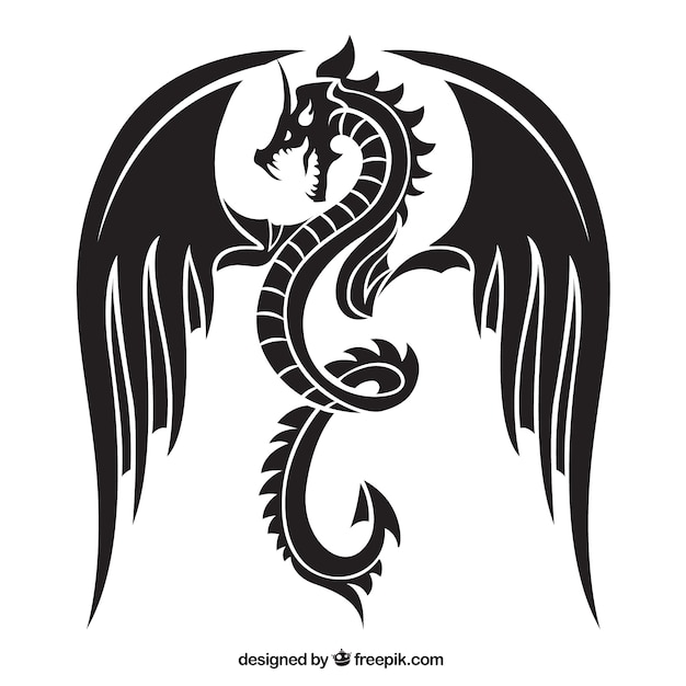 Angry dragon silhouette Free Vector