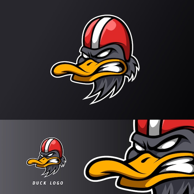 Angry duck rider mascot sport esport logo template Premium Vector