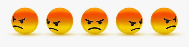 Angry emoticon or grumpy emoji -  emoticon, angry, pouting, grumpy, mad red emoji for social media Premium Vector