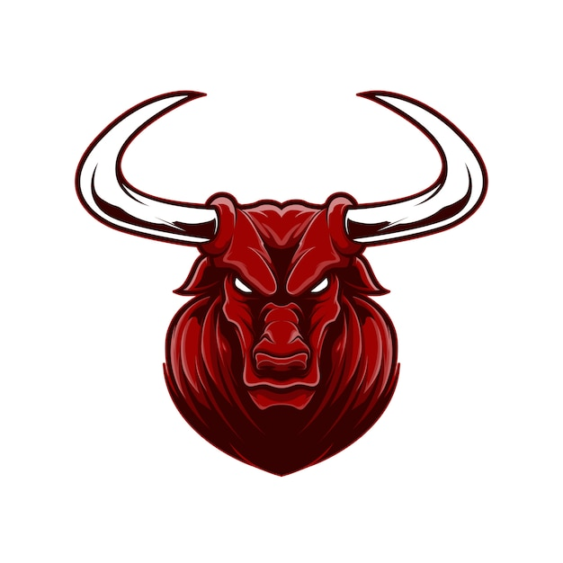 Angry face red buffalo mascot logo sport with cartoon style. Premium Vector