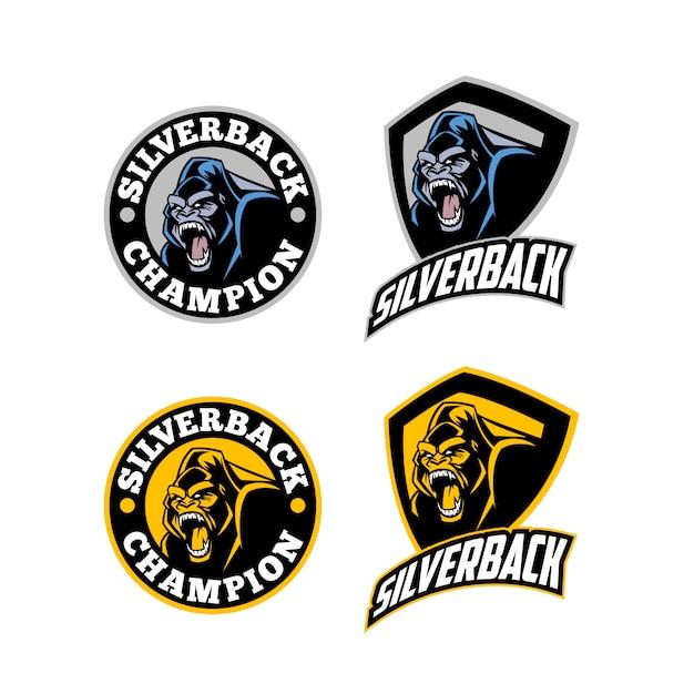Angry fierce silverback gorilla mascot logo Premium Vector