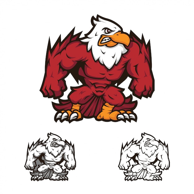 Angry full body icarus mascot logo Premium Vector
