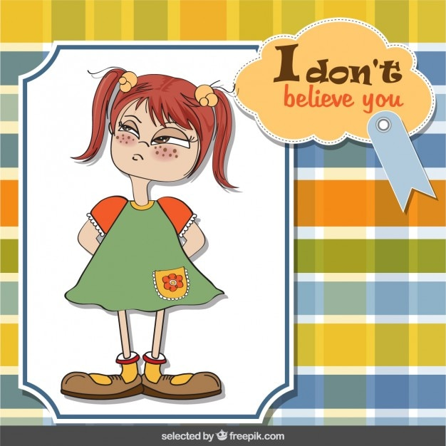 Angry girl greeting card
