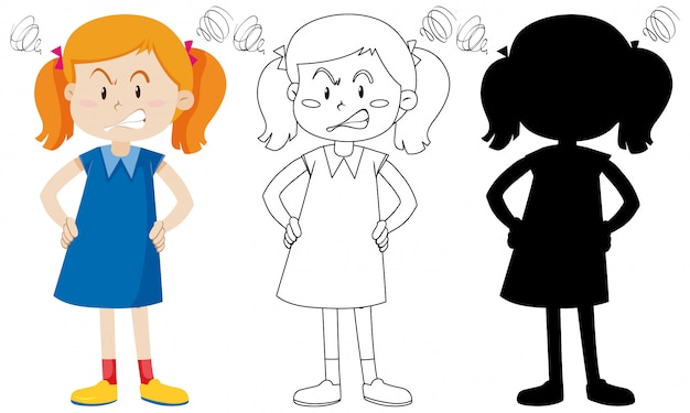 Angry girl with its outline and silhouette Free Vector
