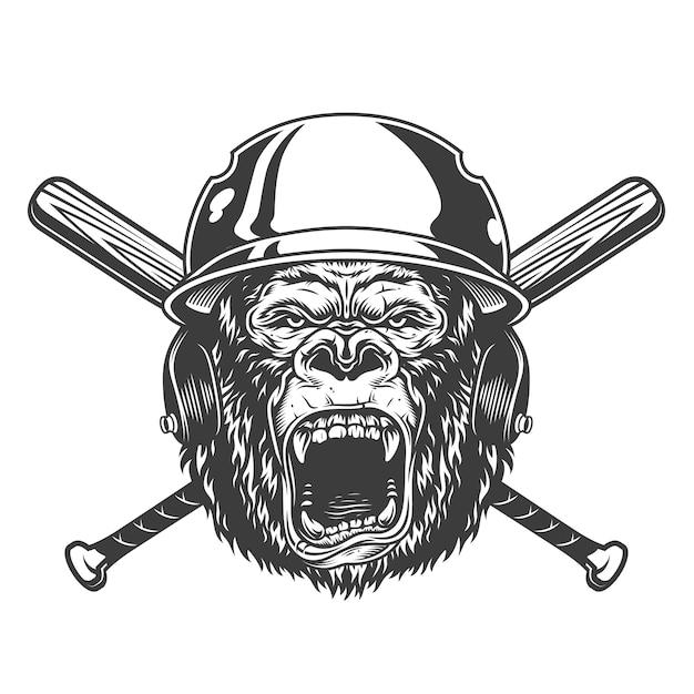 Angry gorilla head in baseball helmet Free Vector