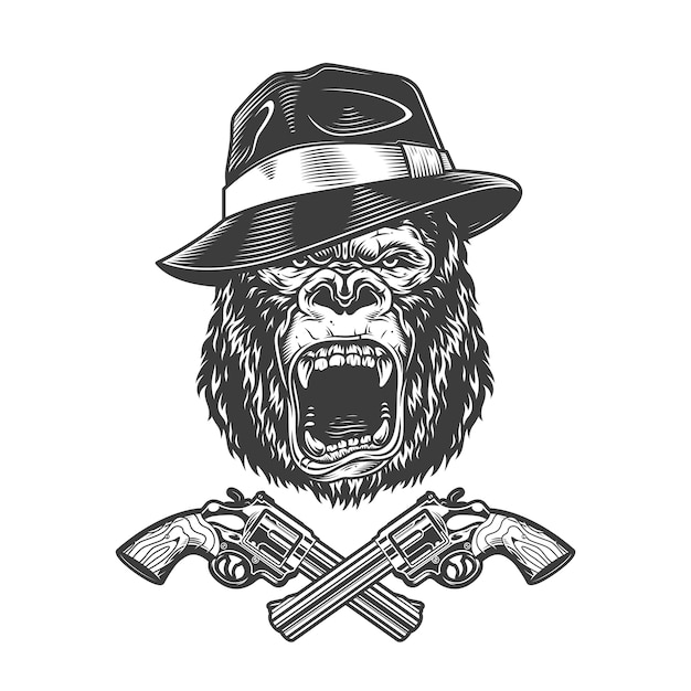 Angry gorilla head in fedora hat Free Vector