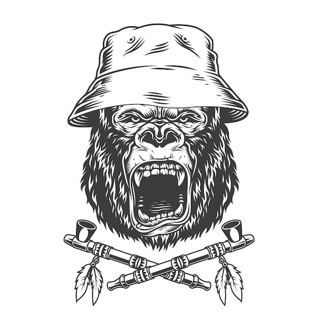 パナマ帽子の怒っているゴリラの頭 無料ベクター