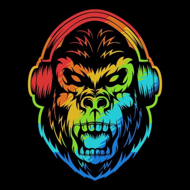 Angry gorilla headphone colorful illustration Premium Vector