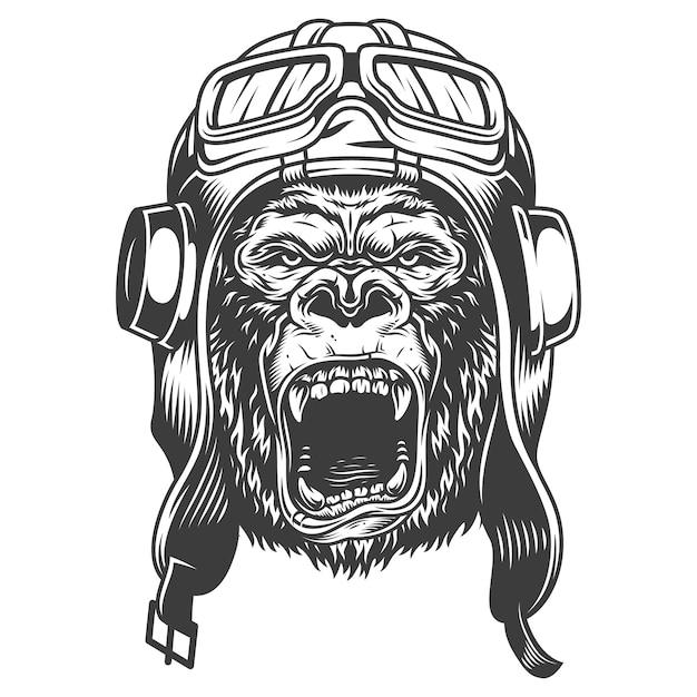 Злая горилла в монохромном стиле Бесплатные векторы