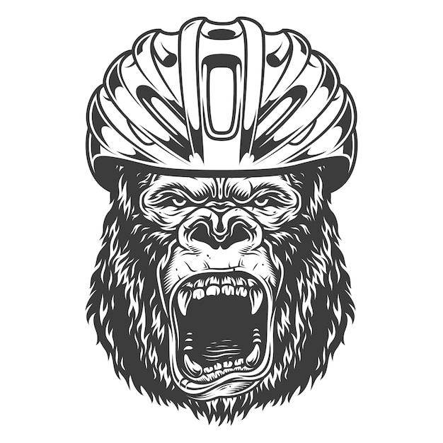 Angry gorilla in monochrome style Free Vector