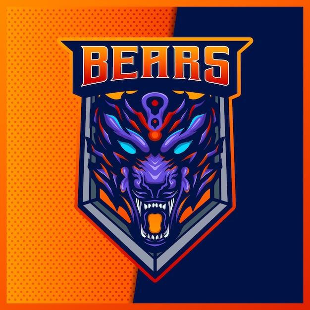 Злой медведь гризли зверь киберспорт и спортивный логотип талисмана Premium векторы