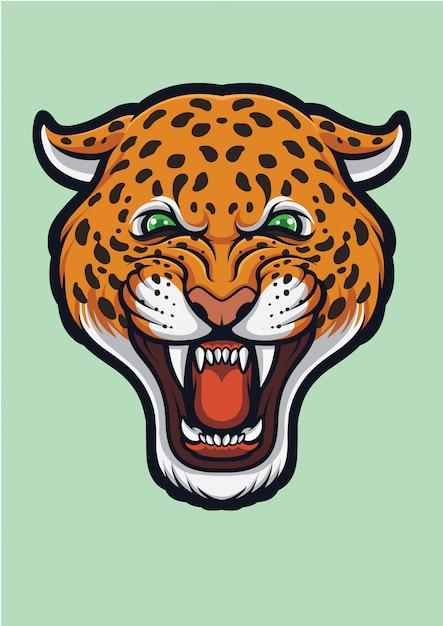 Angry leopard face, panthera pardus Premium Vector