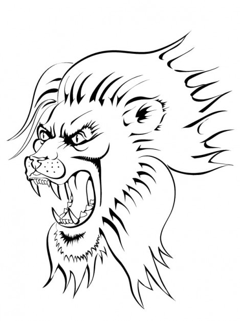 Angry lion face image vector clip art