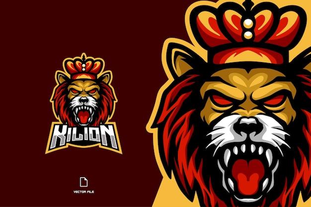 Злой король лев талисман киберспорт игра для спортивной игровой команды логотип Premium векторы