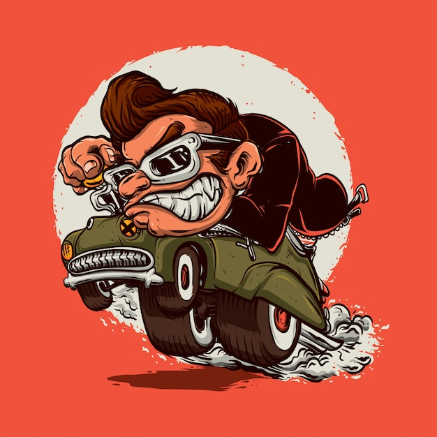 Angry man ride old car Premium Vector