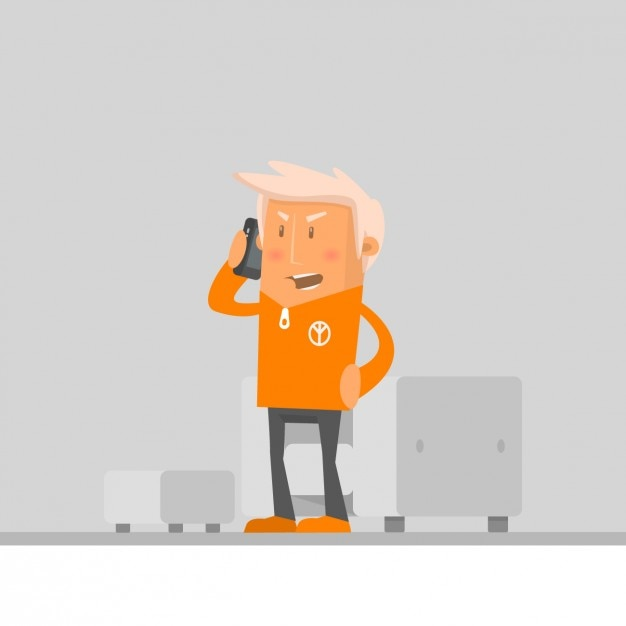 Angry man talking on his phone Free Vector