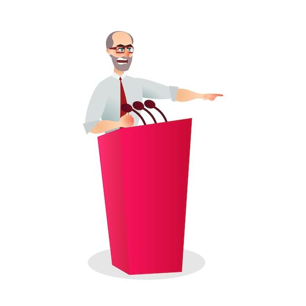 Иллюстрация angry man говорящий микрофон подиум Premium векторы
