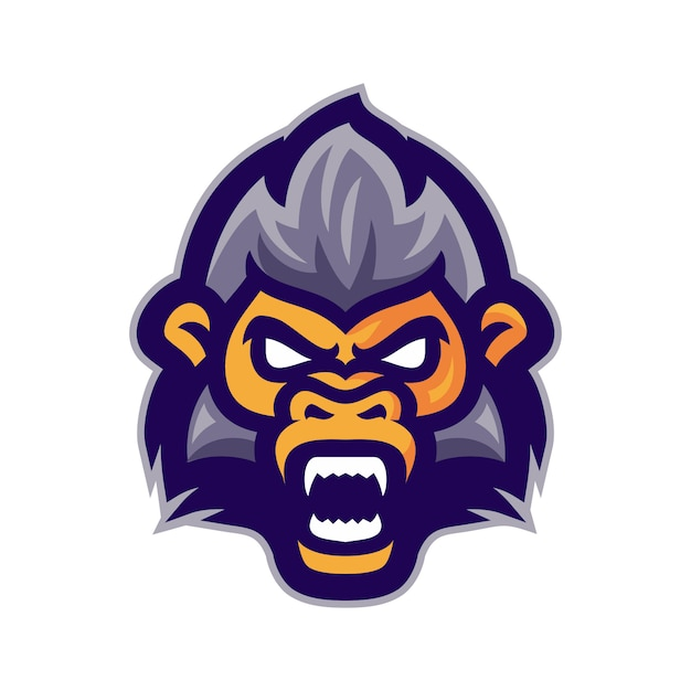 Angry monkey head mascot logo vector Premium Vector